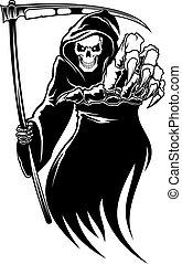 Black death monster with scythe for halloween concept