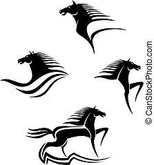 Set of black horses symbols for design isolated on white