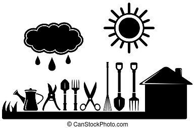 black isolated gardening tools set on farm landscaping
