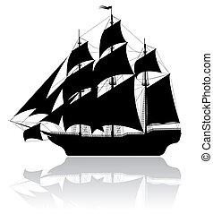 Black old ship isolated on white background