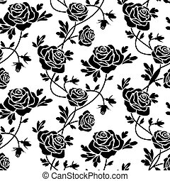 Romantic roses seamless pattern, black flowers at white background, repeating design.
