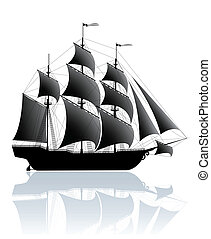 Black old ship isolated on white
