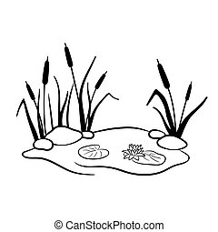 Black silhouette of reeds in swamp or pond with water lily. Vector illustration of wetland is isolated