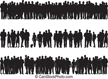 black silhouettes of people