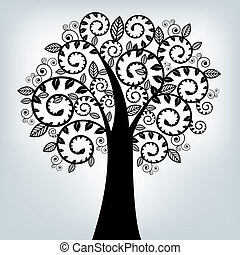 Black Stylized Tree, On Grey Background, Vector Illustration