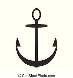 Black vector anchor icon. Sea flat symbol