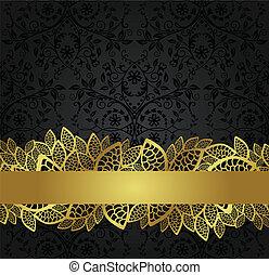 Black wallpaper and golden banner
