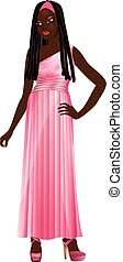 Black Woman Pink Gown