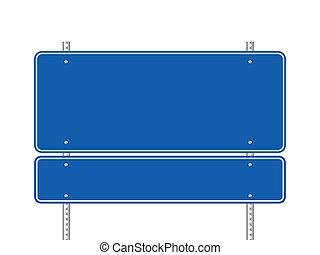 Blank blue road sign vector illustration