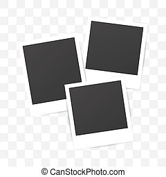 Blank set photo polaroid frame on transparent background. Shadow effect for your photography. Mockup . Retro picture. Scrapbook album decoration template.