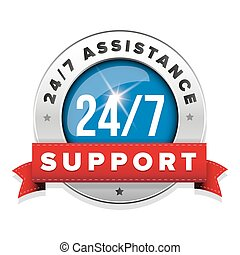 Blue 24/7 support badge with ribbon and steel border