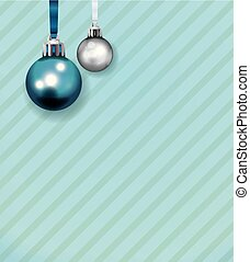 Blue and White Christmas Ornaments on Stripe Background Illustration