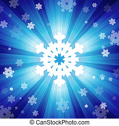 Blue color burst of light with snowflakes