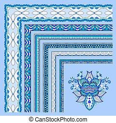 blue floral vintage frame design. vector illustration set