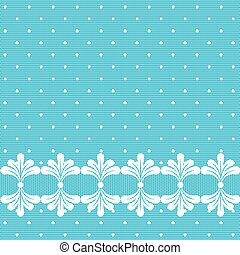 Blue lacy polka dot background with seamless white border.
