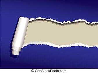 blue paper curl