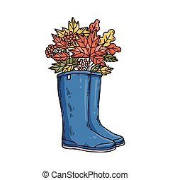 Blue rain boots with autumn leaves bouquet isolated on white background.