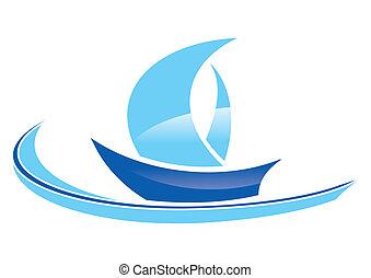 blue sailing boat stylized on a white background