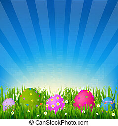 Blue Sky With Grass Easter Card, With Gradient Mesh, Vector Illustration