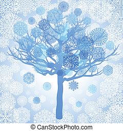 Blue snowflakes on the tree