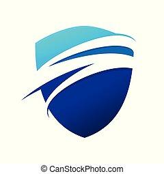 Blue Wave Swoosh Modern Shield Symbol Logo Design
