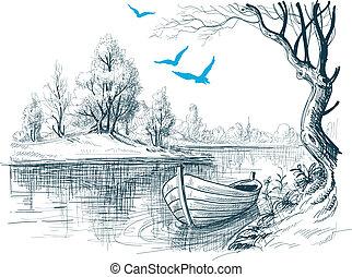 Boat on river / delta vector sketch