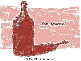 Bottle of wine. Hand-drawn. Vector eps8