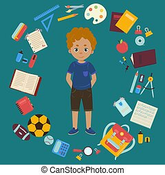 Boy and different objects for school illustration