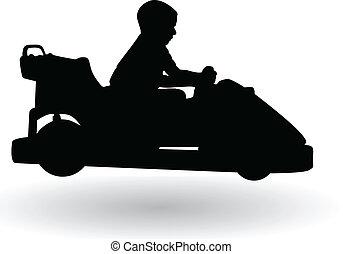 boy driving electric car