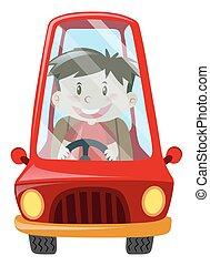 Boy driving red car
