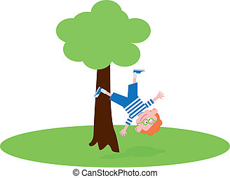 Boy falling from the tree