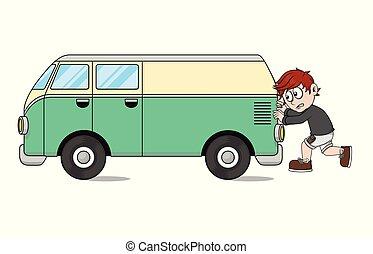 boy push a car illustration
