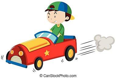 Boy riding red car