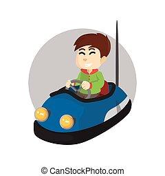 Boy using bumper car