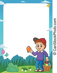 Boy with Easter eggs theme frame 1