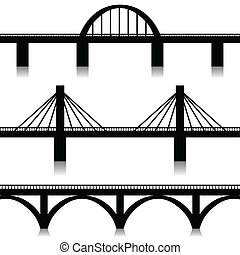 Illustration of silhouette of bridges as a symbol of the city.
