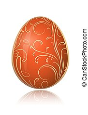Bright red Easter egg with golden decorative floral branch. Vector illustration.