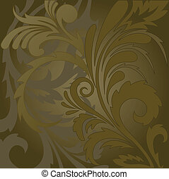 abstract brown background with floral ornaments