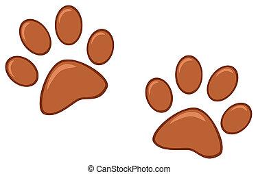Brown Paw Prints Cartoon Character