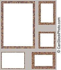 Brown pixel mosaic page layout template set