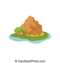 Brown rocky mountain and green plants. Small island surrounded by water. Natural landscape. Flat vector design