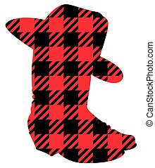 Buffalo Plaid Christmas Cowboy boots silhouette. Vector illustration Cowboy hat Country Christmas isolated on white