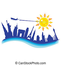 buliding with airplane travel illustration on white background