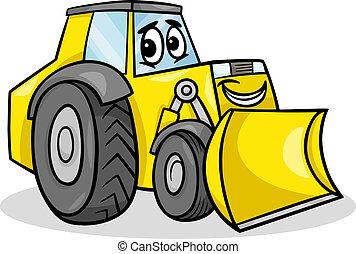 Cartoon Illustration of Funny Bulldozer Machine Comic Mascot Character