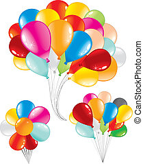 Bunch of celebration balloons, three isolated variants