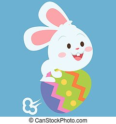 Bunny flying with egg style easter theme