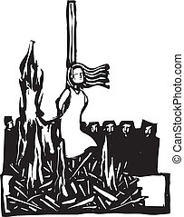 Expressionist woodcut style Woman, Saint or Witch being burned at the stake being watched by a crowd.