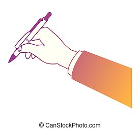 Business hand holding pen rainbow lines