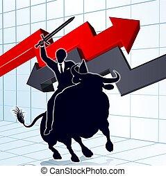Business Man on Bull Profit Concept