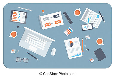 Flat design modern vector illustration concept of teamwork analyzing project on business meeting. Top view of desk background with laptop, mobile and digital devices, office objects and staff, papers and documents.